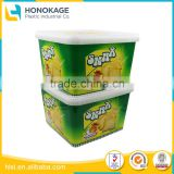 Large Clear Plastic Container for Cookie with Colorful Label, Disposable Transparent Cup