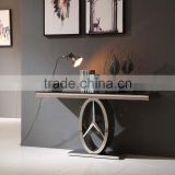 modern appearance black glass stainless steel console table