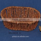 Hand-woven water hyacinth storage basket with metal frame