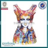 Newest style sublimation fancy custom women vest with 3D printing wholesale tank top
