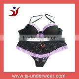 woman fashion fancy black lace bra underwear set