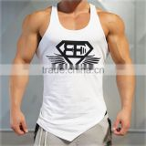 Men live sexy tank gym human muscle fitness sport suits with wing print Tops low cut armholes vest