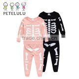 Children Boys Pajamas Breathable Cotton With Bulges Foaming Printing Bones Trendy Clothing