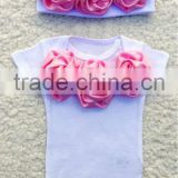 Newborn Girl Romper and Beanie with Pink Rosettes Spring Summer Newborn Girl Outfit