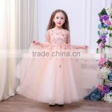 Baby Peach Pageant Dresses For Girls Glitz Flower Girl Dresses long sleeves Ball Gowns Girls Communion party Dress