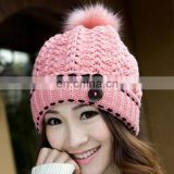 Double buckle ladies beanies cute rabbit fur pompom knitted hats