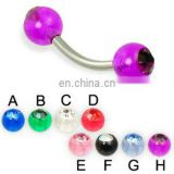 Curved barbell with acrylic 14 gauge eyebrow ring,banana body piercing jewelry ring with crystal