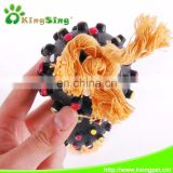 2 spikey ball w/rope Eco-friendly Rubber Pet Products Pet Toys with Deep spikey ball Dog Toys
