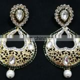 Green Heart-In- Drop Beautiful Collection Gold Plated Cubic Zerconia Party Wear Earrings Set in Color