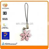 snowflake shape design metal parts enamel phone strap