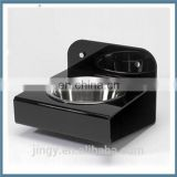 high quality black acrylic wall mount pet dog bowl stand