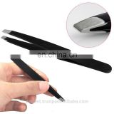 Black Eyebrow Tweezers Hair Beauty Slanted Stainless Steel Tweezers Tool in stainless steel