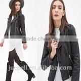 ladies clothing 2015 High quality long sleeve Zippered women led biker jacket
