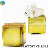 Online / Gold Cube Glass Vase /Square Candle Holder/Glass Container For Wedding