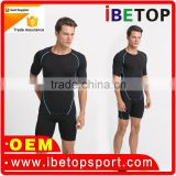 Top sellers 2016 supply lycra fabric for gym wear brasil compression wear wholesale fitness mens sports t shirt