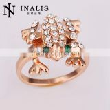 Unique designed animal jewelry 2013 wholesale price rose gold plated crystal frog ring for children