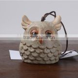 Factory outlet unique indoor ceramic decoration gifts owl design ceramic wind bell wind chimes