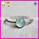 Simple bezel ring 925 sterling silver Blue chalcedony gemstone ring