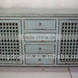 chinese antique furniture pine wood Shanxi blue four drawer two door cabinet