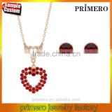 New arrival high quality red crystal stone love heart ladies stud earrings / necklaces jewelry sets