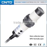 CNTD IP67 18MM Cylindrical Infra-red Photocell Retro-reflective Type Photoelectric Sensor with 2M Detection Distance CGY18E-R2NA