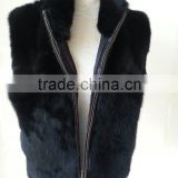 Fashion Women 2015 Fur Gilet/Rabbit Winter Fur Vest /black rabbit fur vest