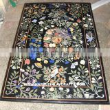 Black Rectangular Marble Table Dining Inlay Top