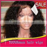 Full Lace Human Hair Wigs For Black Women Kinky Curly Bleached Knots Full Lace Wigs For African American STOCK100% Virign Indian