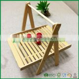 Unique foldable bamboo fruit drying basket for kitchen