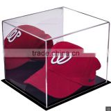 Square portable acrylic baseball hat box, crystal clear plastic display box with black base