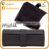 black genuine leather travel watch roll