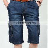 men's summer new design cargo half pants cotton/polyester indigo hombres jeans pants shorts