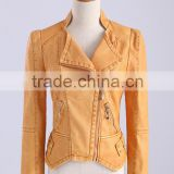 Italy pu leather jackets women &brown washed pu leather jacekt soft and fashion cheap