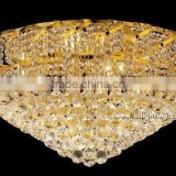 Golden side dish style luxury crystal flush mount ceiling light