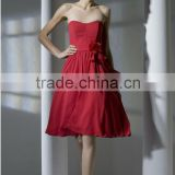 2014 New Chiffon Red Strapless Bridesmaid Dresses Gowns A Line Knee Length Homecoming Dresses Gowns Custom Made