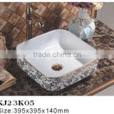 KJ23K05 India Artificial Marble gold color Above Counter mount art basin