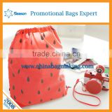 Cute spot OEM service plastic drawstring backpack laundry bag promotional