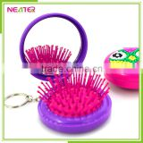 new design round foldable plastic with crystal makeup hair brush mirror with key ring