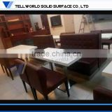 Tell World professhional manufacture for commercial modern restaurant dining tables artificial marble table top
