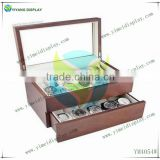 Vintage Wood Watch Case Display Storage Watch Box Glass Top Holds 20+ Watches With Adjustable Soft Pillows YM4054W