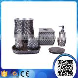 Hot sale hotel use luxury silver transparent bling bathroom accessories set clear glass barth set