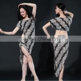 Wuchieal New Style Lace Jacquard Belly Dance Costumes with Top and Skirt for Performance or Practice