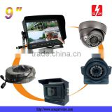 "9"" HD Car TFT LCD Color Touch Monitor Screen Rearview Display Backup Camera Monitor System for Truck Trailer Bus 4 Video Inputs"