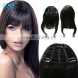 Unprocessed Wholesale Brazilian remy clip in hair extension bangs, 2015 new human hair clip in bangs hair bangs