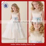 Fl17 Handmade A-Line Beading Layered Pageant Flower Girl Dress with Sash