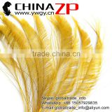 Top Selling ZPDECOR Factory Bulk Sale Cheap Dyed Yellow Peacock Sword Feathers