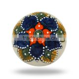 Ceramic Large Round Blue Orange Floral Design Knob
