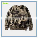 Wholesale pullover fleece lined camouflage printed military hoodie for men