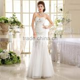 Wholesale price fishtail wedding dress with appliques designs