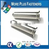Made in Taiwan Flush Mounted Head Unthreaded Stainless Steel Self Clinching Pin